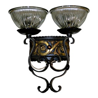 Two Light Egyptian Motif Sconce