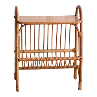 Rattan Side Table Magazine Rack