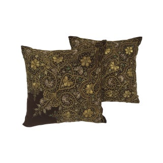 Victorian Gold Embroidered Pillows - A Pair
