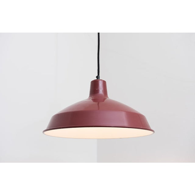 Red Enamel Industrial Pendant Lamp - Image 2 of 4
