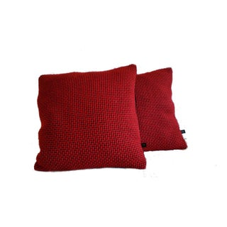 Maharam Red Monk's Wool & Black Epingle Pillow Covers- A Pair