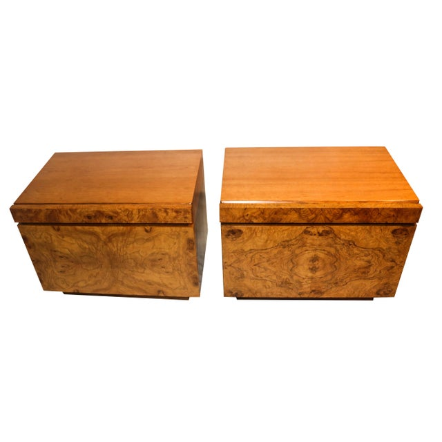 Milo Baughman For Lane Olive Burlwood Nightstands - A Pair - Image 10 of 10