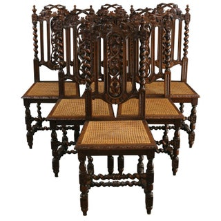 1890 Antique French Hunting Dining Chairs - S/6