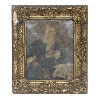 Antique Portrait of Man Playing Bassoon Painting