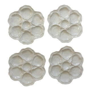 French White Oyster Plates - Set of 4