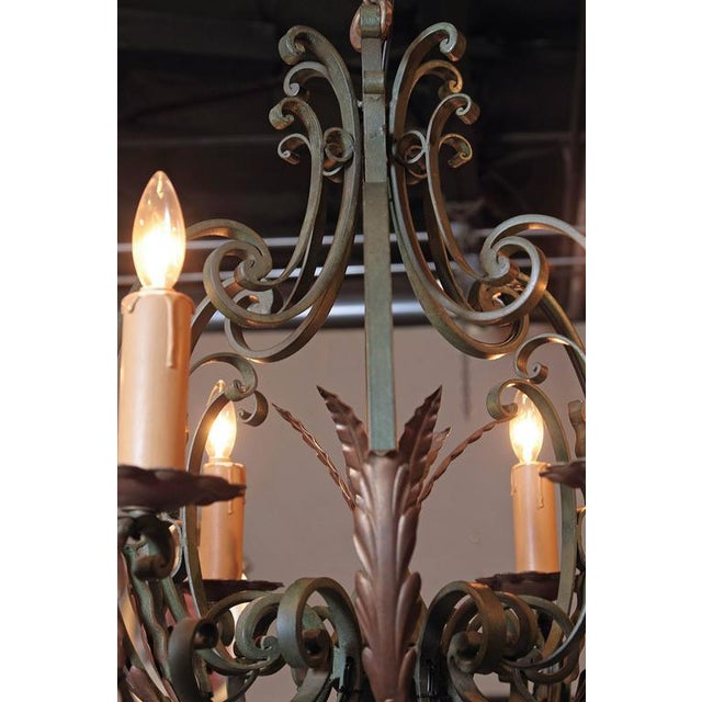 Early 20th Century French Six-Light Iron Chandelier With Verdigris Finish - Image 4 of 10