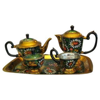 New Hand Painted Russian Vintage Tea and Coffee Set ~ Circa 1960's to 1970's