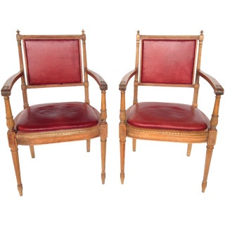 Antique Italian Carved Leather Chairs - A Pair