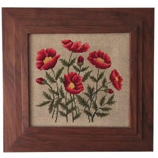 Red Poppy Needlepoint in Teak Frame