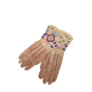 Native American Antique Leather & Beads Gloves