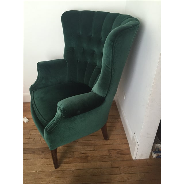 Vintage Emerald Green Armchair - Image 4 of 4