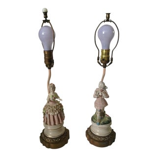 Victorian English Figurine Table Lamps - a Pair