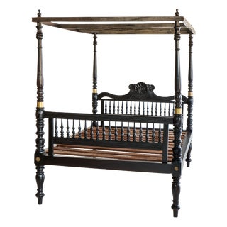 British Colonial Ebonized Four Poster Bed