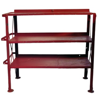 Vintage Industrial Red Iron Shelf
