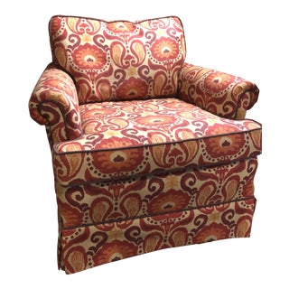 Red & Orange Upholstered Club Chair