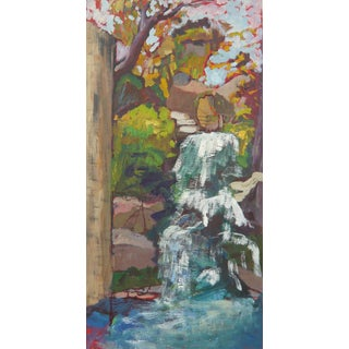 """Waterfall in the Japanese Garden"" Oil Painting"