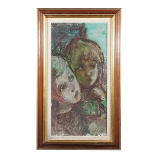 """Bertil Wahlberg """"Siblings"""" Oil on Canvas Painting"""
