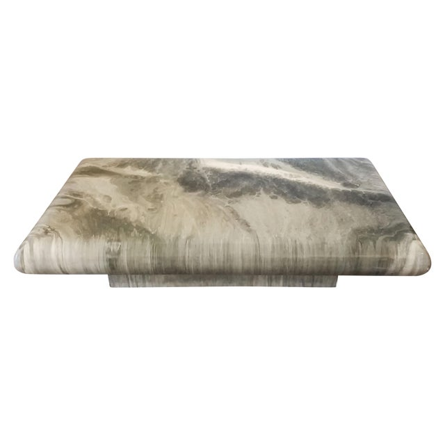 Monumental 1970s Faux Marble Coffee Table - Image 1 of 5