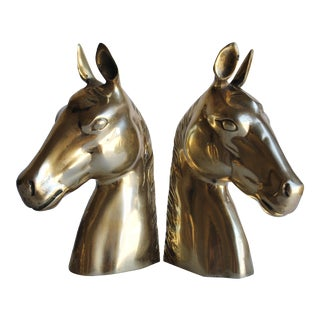 Vintage Brass Horse Bookends - Pair