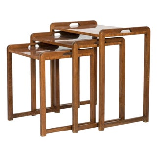 Mid Century Walnut Serving Nesting Tables - Set of 3