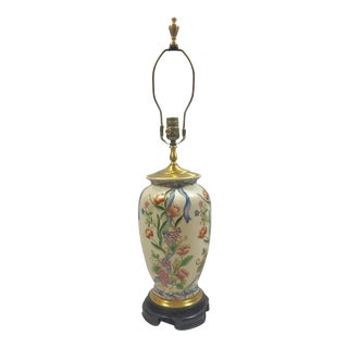 Ribbon & Floral Porcelain Lamp