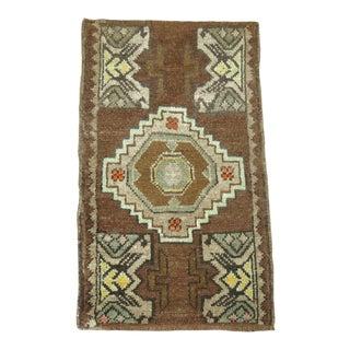 Vintage Brown Oushak Rug, 1'8'' x 2'10''