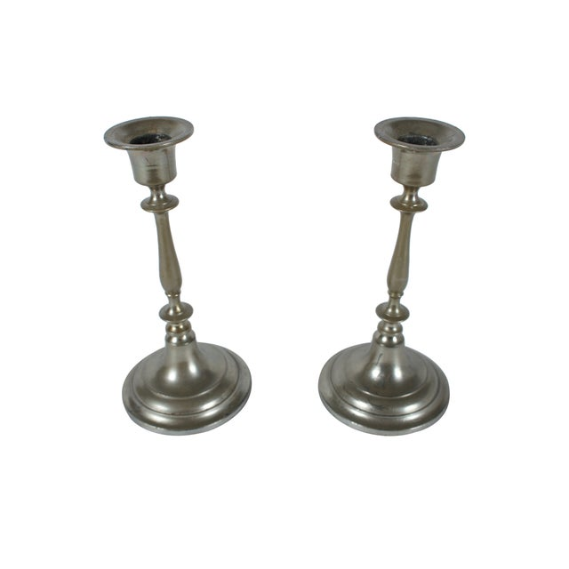 Jonkoping Nickel-Plate Candlestick - A Pair - Image 1 of 3