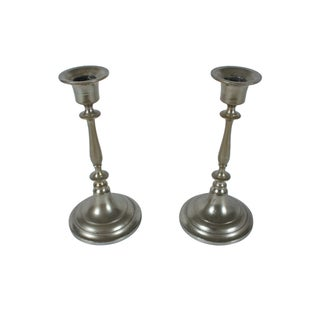 Jonkoping Nickel-Plate Candlestick - A Pair