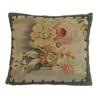 19th Century French Petite Floral Aubusson Tapestry Decorative Pillow