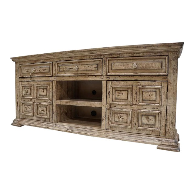 Image of IFD Antique White Distressed Media Chest
