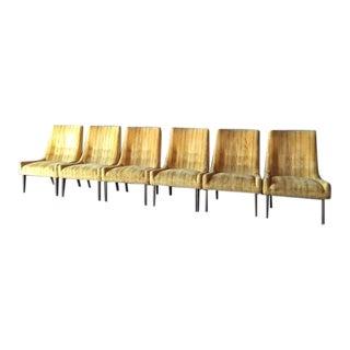 Mid-Century Yellow Velvet Chairs- Set of 6