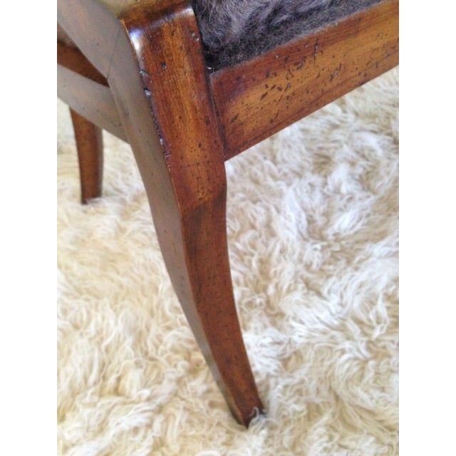 Image of Vintage Cane Back & Faux Fur Seat Chairs - A Pair