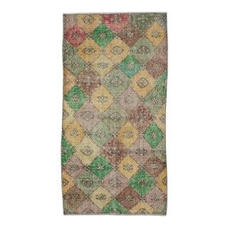 Vintage Turkish Hand-Knotted Art Deco Rug - 3′1″ × 6′