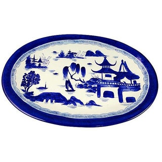 Hand Painted Blue & White Chinoiserie Platter