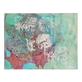 Original Vintage Abstract Watercolor Painting in Aqua