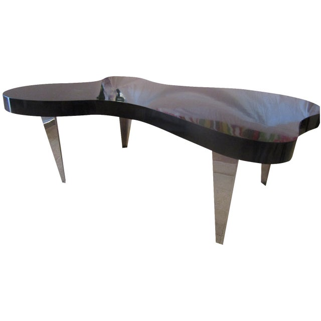 Mid century amoeba black and chrome coffee table chairish Black and chrome coffee table