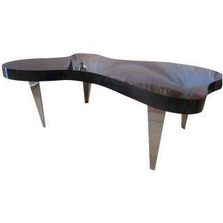 Mid-Century Amoeba Black and Chrome Coffee Table