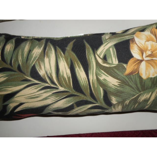 Tropical Palm Leaf & Orchid Pillows - a Pair - Image 7 of 8