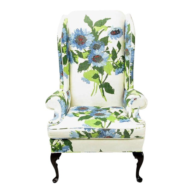 Image of Pair of Elegant and Bold Floral Linen Upholstered Wing Chairs by Hickory Chair