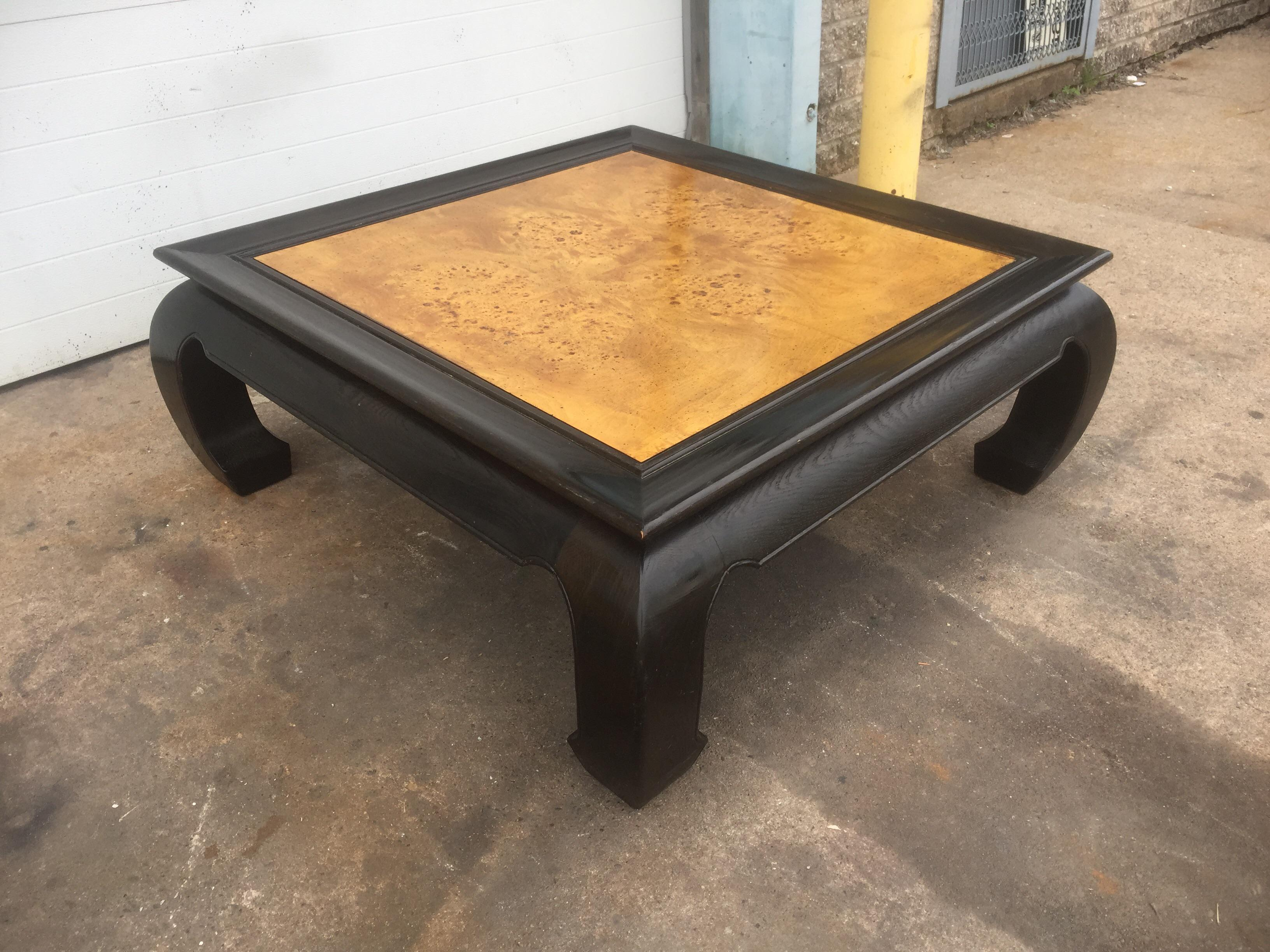 asian style burl wood coffee table | chairish