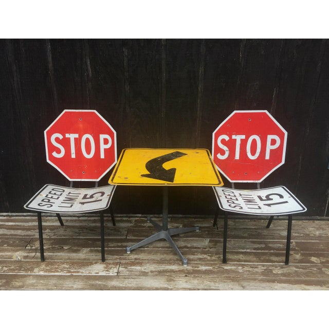 Industrial Road Sign Table Chairs Set Of Chairish - Road sign furniture