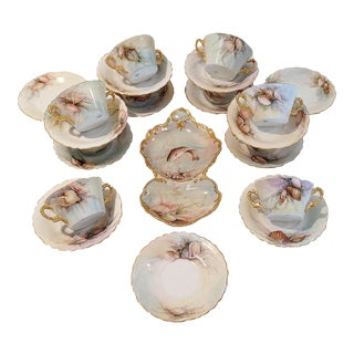 Seashell Limoges Soup Cups & Saucers - 24 Pieces