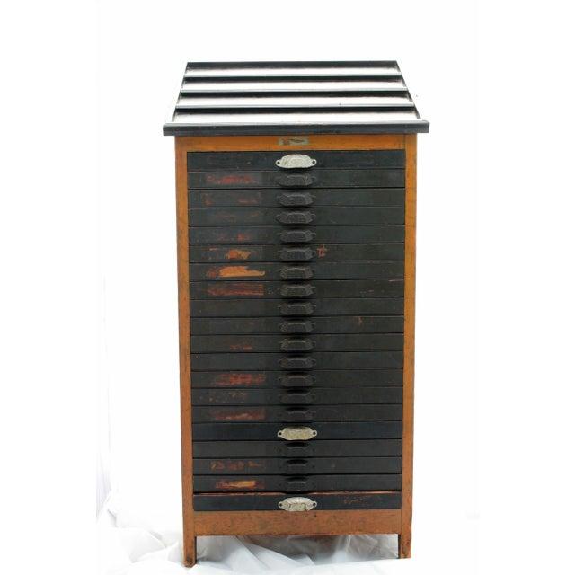 Antique 20-Drawer Letterpress Cabinet & Wood Type - Image 2 of 9