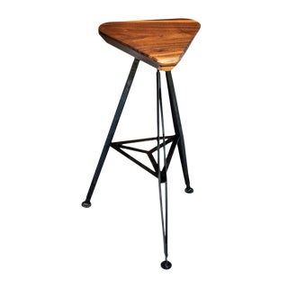 Delta Steel and Walnut Stool