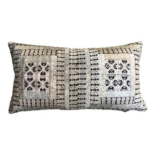 Tribal Embroidered Silvered Pink Pillow
