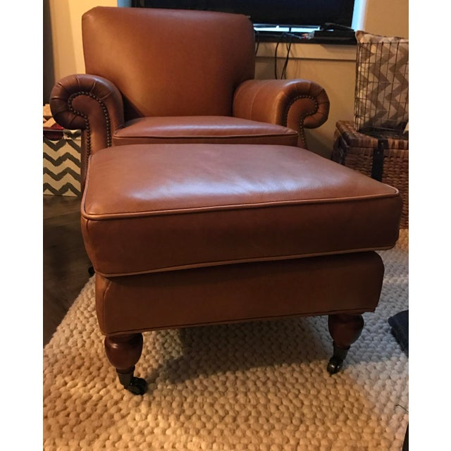 Pottery Barn Chairs And Ottomans: Pottery Barn Distressed Leather Chair And Ottoman
