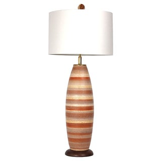 Large Mid-Century Striped Pottery Lamp, W/Shade