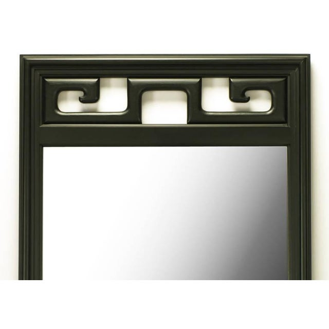 Image of Pair of Black Lacquer Asian Greek Key Panel Mirrors
