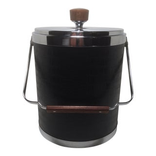 Kromex Black Leather And Chrome Ice Bucket with Walnut Mid-Century Modern