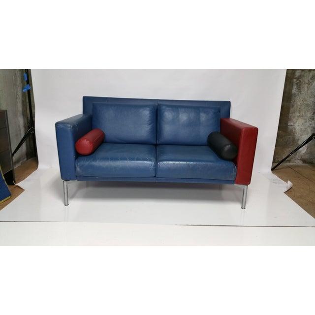 Vintage 1980s Italian Blue Leather Sofa - Image 2 of 10